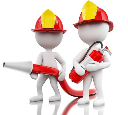 3d ilustratie. Brandweerman met helment, slang en blus. Veiligheidsconcept. Geïsoleerde witte achtergrond Stockfoto