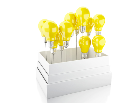 outside the box: 3d illustration. Light bulb set. Idea and think outside of the box concept. Isolated white background