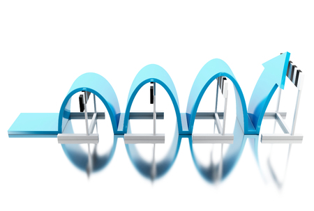 3d illustration. Arrow jumping over hurdles. Success in business. Isolated white background.