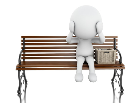 bankrupt: 3d illustration. White people seated on a bench with his stuff. Isolated white background