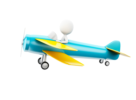 3d illustration. White people piloting an airplane. Isolated white background