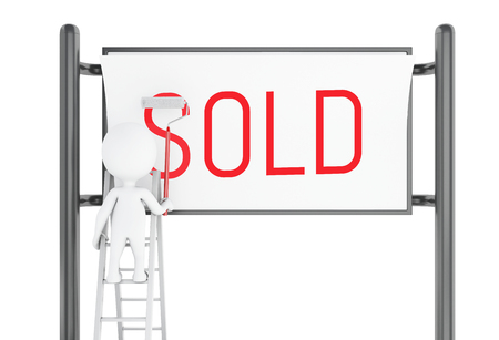 sold small: 3d illustration. White people with advertisement billboard with the word sold. Real estate concept. Isolated white background Stock Photo