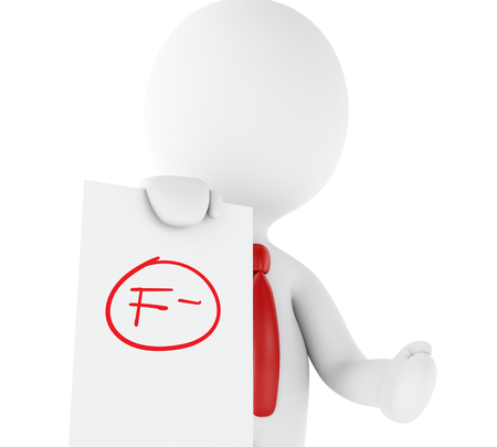 3d illustration. White people, teacher with f grade test. Fail symbol, education concept. Isolated white background