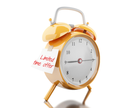 3d illustration. Alarm clock with sticky paper written limited time offer. Reminder concept. Isolated white background