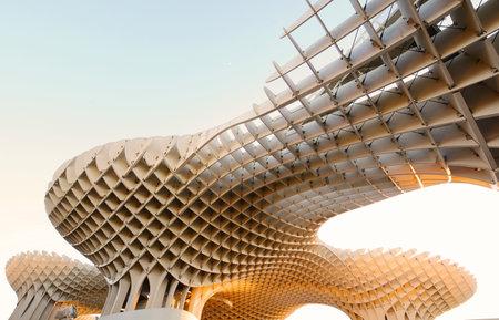 Seville, Spain, April 2 2017: Metropol Parasol (Setas de Sevilla), modern architecture on Plaza de la Encarnacion in Seville, Spain