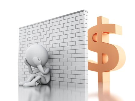 bankrupt: 3d illustration. White business people crisis. Financial crisis concept. Isolated white background