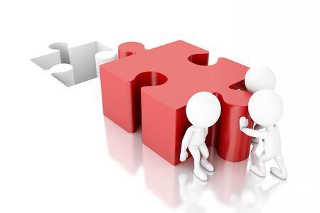 3D illustratie. Blanke mensen die een puzzel oplossen. Teamwork concept. Geïsoleerde witte achtergrond Stockfoto
