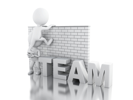 3d illustration. White people climbing a brick wall. Teamwork concept. Isolated white background