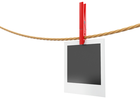 3d illustration. Photo frame hanging on the clothesline. Isolated white background