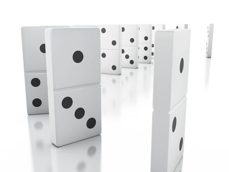 3d illustration. Domino tiles in a row. Business concept. Isolated white background Stock Photo