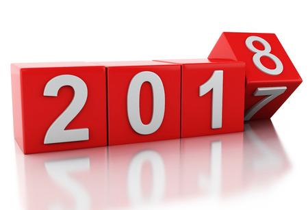 3 d レンダラーのイメージ。2018 赤キューブ。新しい年の概念。白い背景上に分離。