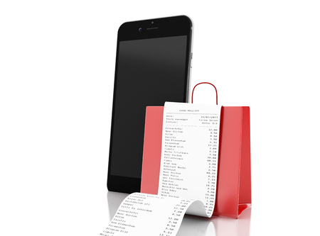 3d illustration. Shopping bag with store receipt with smartphone. Purchase concept. Isolated white background