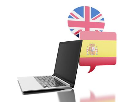3d illustration. Online translator of Spanish and English with laptop computer. Education and translation concept. Isolated white background