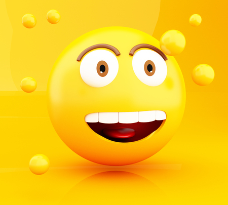 smiley: 3d illustration. Emoji icons with facial expressions. Social media concept.