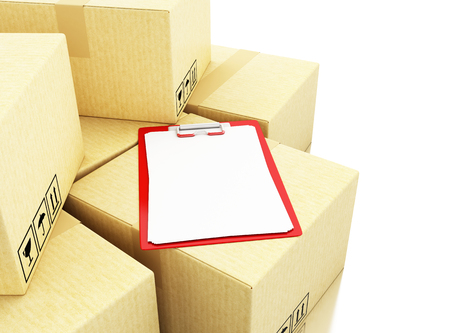 3d 일러스트 레이 션. 골판지 상자에 첵 목록. 배달 개념입니다. 격리 된 흰색 배경 스톡 콘텐츠 - 82361298