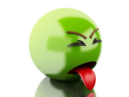 3d 일러스트 레이 션. 아픈 이모티콘 밖 혀. 격리 된 흰색 배경