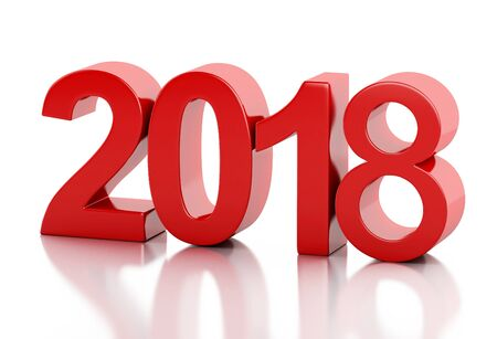 3d renderer image. New Year 2018 isolated on white background. Stock Photo