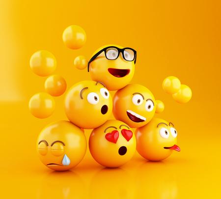 3 d イラスト。顔の表情の絵文字アイコン。ソーシャル メディアのコンセプトです。黄色の背景 写真素材