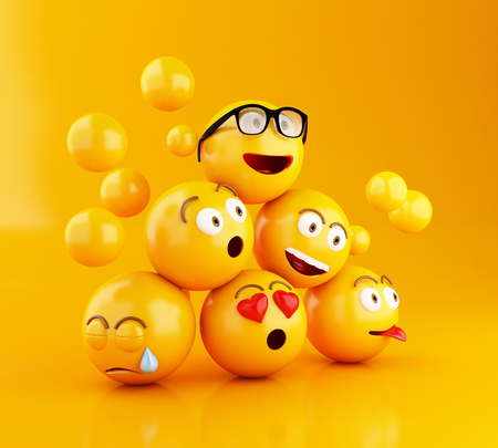 3d 일러스트 레이 션. Emojis 얼굴 표정 아이콘입니다. 소셜 미디어 개념입니다. 노란색 배경 스톡 콘텐츠