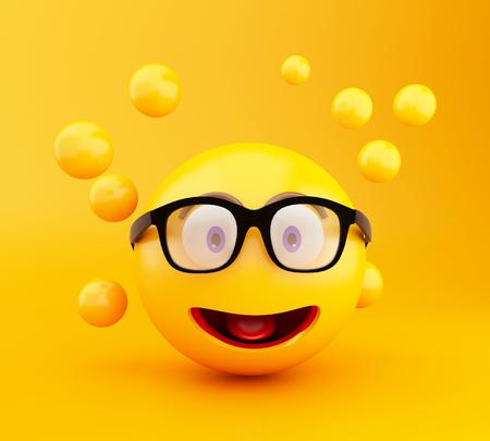 3d illustration. Emoji icons with facial expressions. Social media concept.