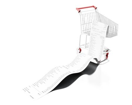 3d illustration. Shopping cart with store receipt. Purchase concept. Isolated white background Stock Photo