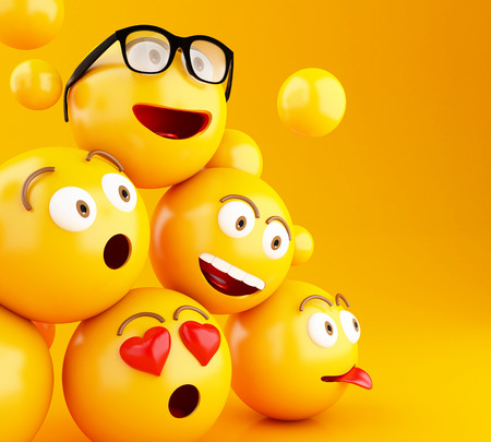 3d illustration. Emojis icons with facial expressions. Social media concept. Yellow background