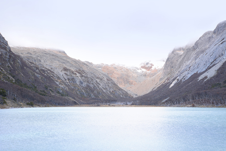 View of the Emerald lake (Laguna esmeralda) in Ushuaia, Tierra del Fuego, Argentina.