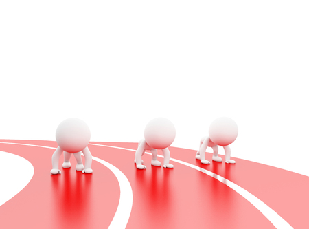 3d illustration. White people at starting line. Isolated white background Stock Photo