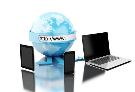 Illustrazione 3D. terra collegato alla tecnologia di rete. concetto di rete globale sfondo bianco isolato Archivio Fotografico - 82887697