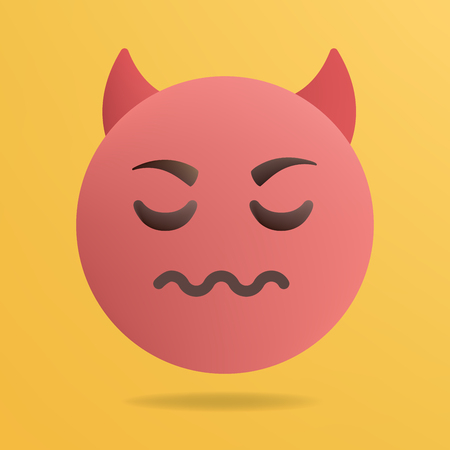 Vector illustration. Red devil emoticon. Yellow background