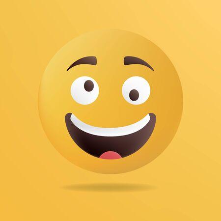 joking: Vector illustration. Crazy emoticon face. Yellow background Illustration