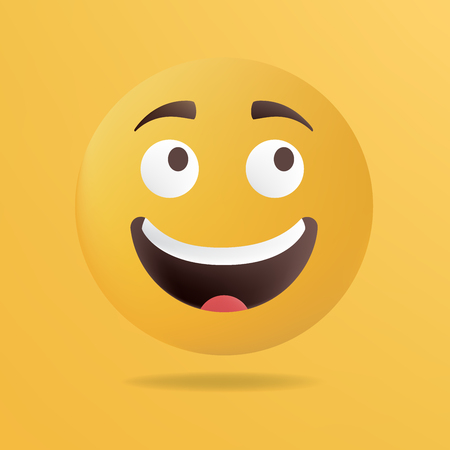 Vector illustration. Happy emoticon face. Yellow background