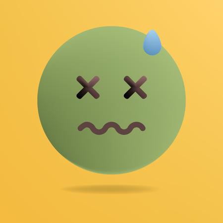 Vector illustration. Emoticon feeling unwell. Yellow background