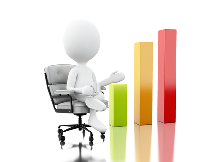 3d illustration. White people sitting on the office chair growing business graph. Success in business