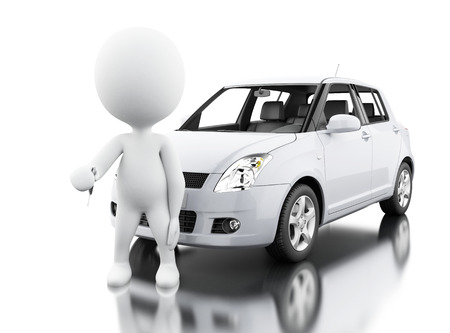 3d illustration. White people buying a new car. Isolated white background Foto de archivo