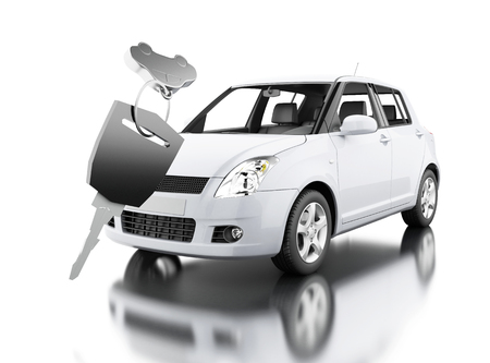 3d illustration. car key with new car. Isolated white background Stock Photo