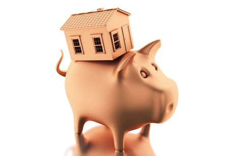 pink roof: 3d illustration. Piggy bank with coins and house. Home savings concept. Isolated white background Stock Photo