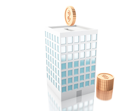 3d illustration. Putting coins into piggy bank building. Savings business concept. Isolated white background