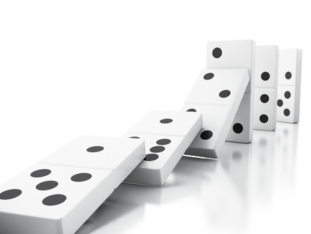 3d illustration. Domino tiles falling in a row. Business concept. Isolated white background