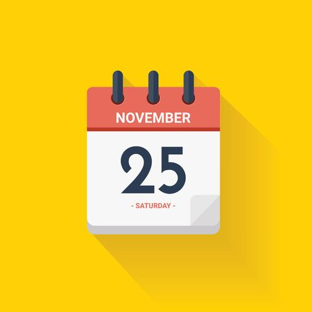 Vector illustration. Day calendar with date November 25, 2017. Black friday concept. Yellow background