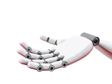 Ilustración 3d. Mano robótica que muestra algo. Concepto del futuro. Aislado fondo blanco