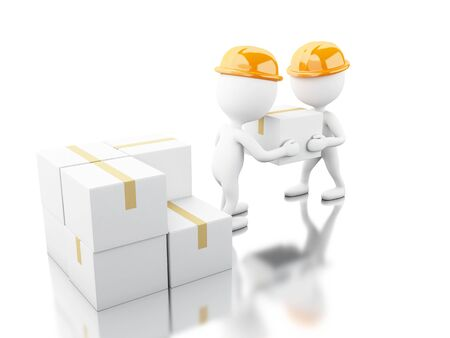 lading: 3d illustration. White people unload cardboard boxes. Delivery concept. Isolated white background