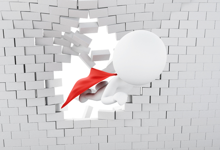 3d illustration. Super hero with red cape flying through broken brick wall. 版權商用圖片
