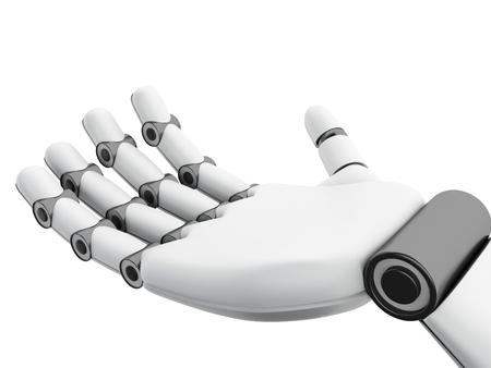 3d illustration. Robotic hand showing something. Future concept. Isolated white background Stock Photo