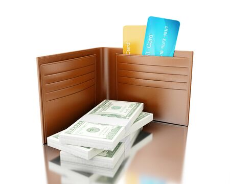 billfold: 3d illustration. Close up view of credit cards in leather wallet with stack of bills. Concept of payment. Isolated white background