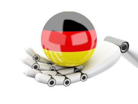 cybernetics: 3d illustration. Robotic hand holding Germany flag icon. Isolated on white bakground Stock Photo
