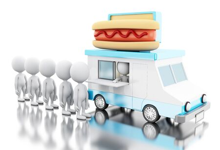 hot dog: 3d illustration. Hot dog food truck with white people waiting in line. Fast food concept. Isolated white background