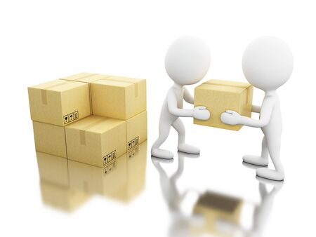 3d illustratie. Witte mensen lossen kartonnen dozen. Leveringsconcept. Geïsoleerde witte achtergrond Stockfoto