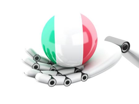 bakground: 3d illustration. Robotic hand holding Italy flag icon. Isolated on white bakground Stock Photo
