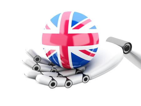 3d illustration. Robotic hand holding British flag icon. Isolated on white bakground